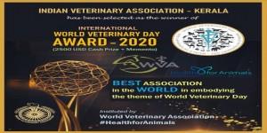 IVA - KERALA BAGGED INTERNATIONAL WORLD VETERINARY DAY AWARD FOR BEST PERFORMANCE